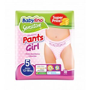 Pannolini Mutandina Babylino Sensitive Girl: Taglia 5 - da 12 a 18 Kg.