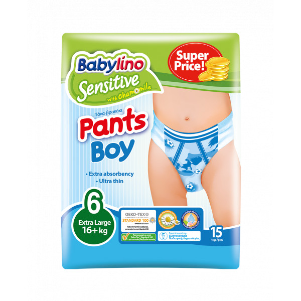 Pannolini Mutandina Babylino Sensitive Boy: Taglia 6 - 16+ Kg