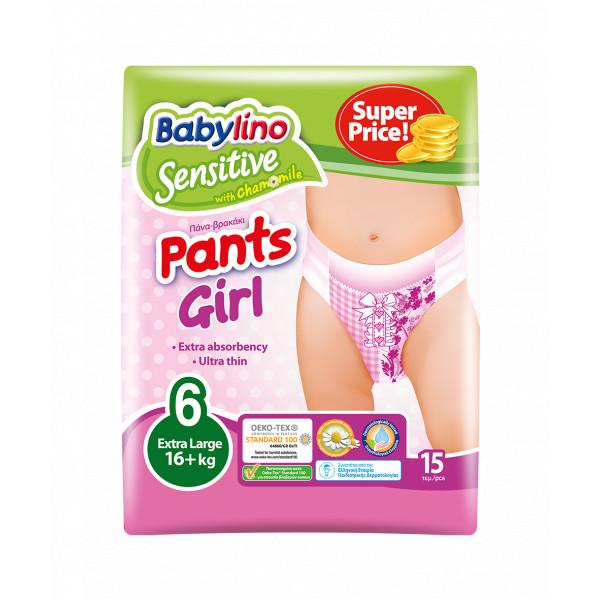 Pannolini Mutandina Babylino Sensitive Girl: Taglia 6 - 16+ Kg