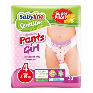 Pannolini Mutandina Babylino Sensitive Girl: Taglia 4 - da 8 a 15 Kg.